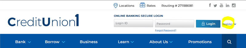 image of online banking login box